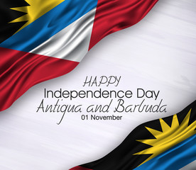 Vector illustration of Happy . Waving flags isolated on gray background,antigua and barbuda,01 november,independence day .