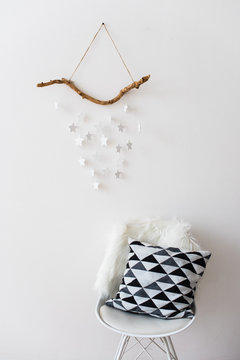 Scandinavian home interior decoration with white stars