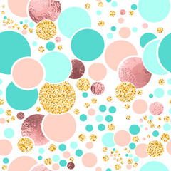 Vector seamless sparkle pattern with turquoise, pink foil and gold glitter circles