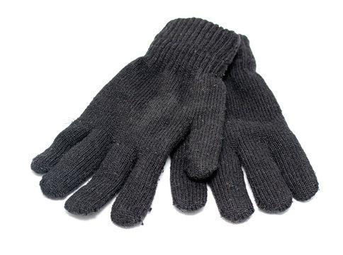 black woolen gloves on white background