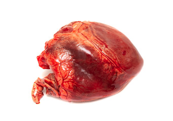 meat heart on white background