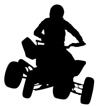Silhouette of the motorcyclist on a quad bike, on a white background