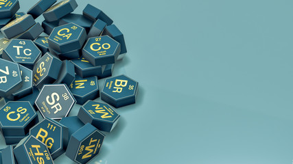 a pile of hexagons with chemical elements symbols, copy space (3d render)