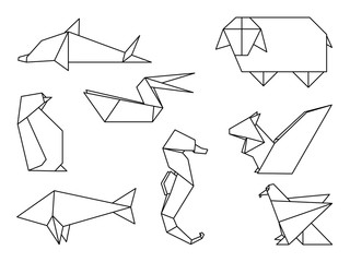 Collection of origami animals vector illustration
