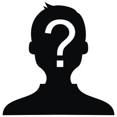 man with question mark, white silhouette, vector icon