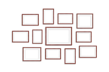 Frames collage, twelve brown realistic wooden frameworks isolated on white background