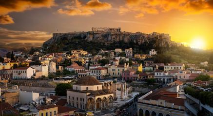 Fototapete - Blick über die Altstadt von Athen auf die Akropolis bei Sonnenuntergang, Griechenland