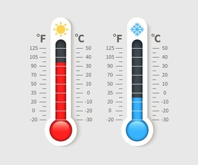Cold warm thermometer. Temperature weather thermometers with celsius and fahrenheit scale. Thermostat meteorology vector isolated icon