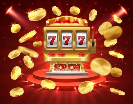 Slot machine banner. Casino gambling roulette online lottery jackpot 3D realistic gambling background. Vector roulette slot machine