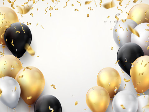 Celebration banner. Happy birthday party background with golden ribbons, confetti and balloons. Vector realistic anniversary poster