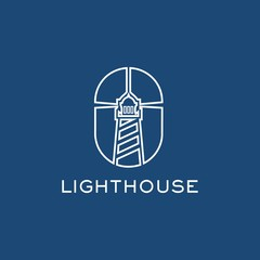 Lighthouse and mouse symbol Logo template design inspiration