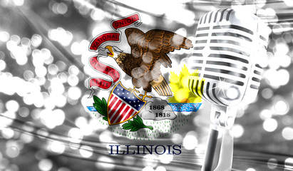 Microphone on a background of a blurry State of Illinois flag close-up