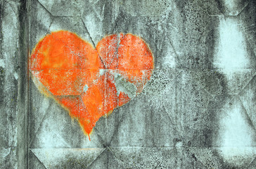 old concrete texture background. heart is a love symbol painted on a concrete wall.