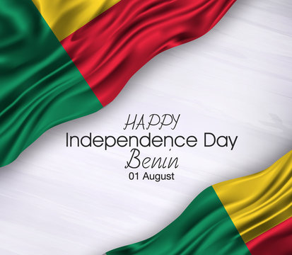 Vector illustration of Happy . Waving flags isolated on gray background, benin,01 august,independence day.