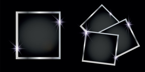 Set of silver shiny square and round frames, on white transparent background. Vector illustration
