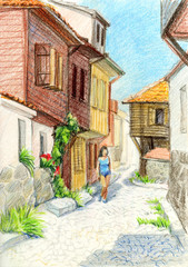 Illustration of the old town with colored pencils. Houses with tiled roofs.