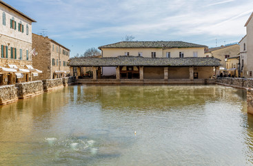 Beautiful view of the historic and thermal center of Bagno Vignoni, Siena, Tuscany, Italy