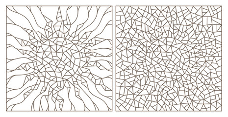 Set of contour illustrations of stained glass Windows with abstract cracked suns, dark contours on a white background