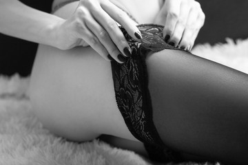 woman wearing stockings