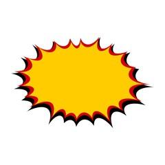 Comic yellow burst on white background
