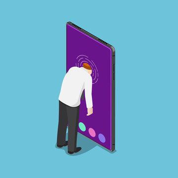 Isometric businessman push his head into smartphone