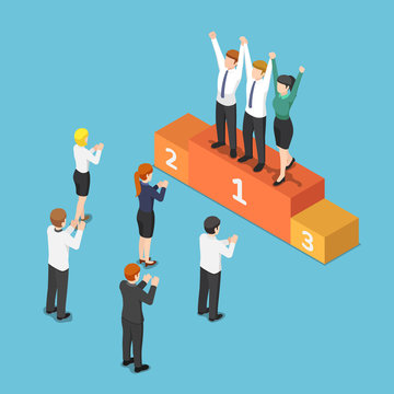 Isometric business team on the winner podium and raising hand together