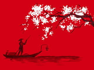 Japan traditional sumi-e painting. Watercolor and ink illustration in style sumi-e, u-sin. Fuji mountain, sakura, sunset. Japan sun. Indian ink illustration. Japanese picture, red background.