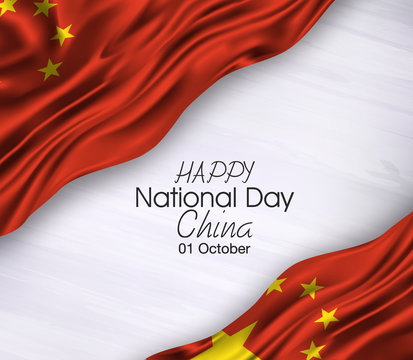Vector illustration of Happy . Waving flags isolated on gray background., china,01 october,national day.