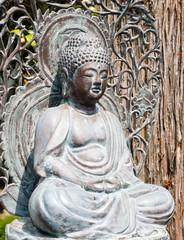 Bronze Japanese style statue of sitting Buddha