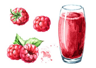 Glass of raspberry Juice and fresh ripe berries set. Watercolor hand drawn illustration, isolated on white background