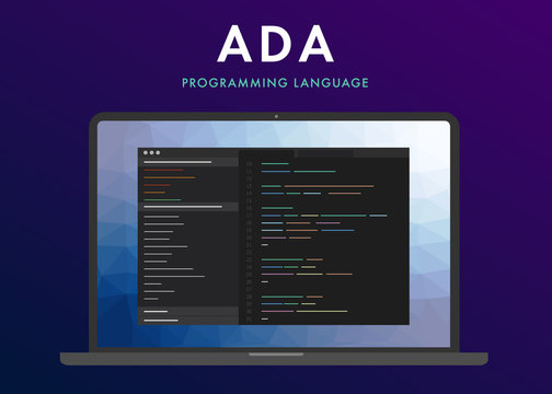 Ada programming language. Learning concept on the laptop screen code programming. Command line ADA interface with flat design and gradient purple background.