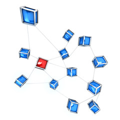 Connected cubes blue and red