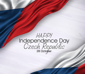 Vector illustration of Happy . Waving flags isolated on gray background, czech republic,28 october,independence day.
