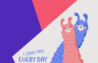 Deurstickers Bestsellers Kids I love you every day. Cartoon Llama family in love. Color background. Vector illustration.
