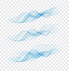 Set abstract color smoke wave. Transparent smooth Vector lines.