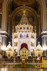 altar in the Church of Christ the Saviour, the world-famous main Orthodox Church of Russia.