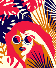 Vector illustration of a girl in sunglasses among tropical plants. Summer concept in vintage style