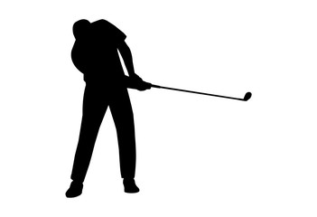 vector of silhouette golfer swing the sand weigh club