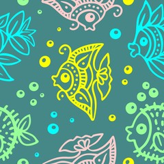 Fishes Batik Style Seamless Pattern Vector Design
