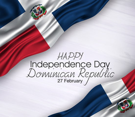 Vector illustration of Happy dominican republic  Waving   flags isolated on gray background.,27 february,independence day.