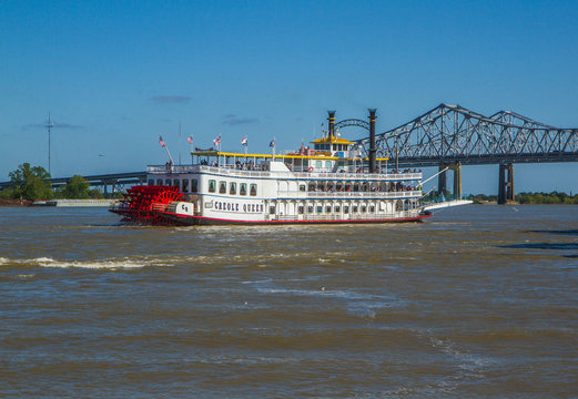 Creole Queen steamboat on Mississippi River in New Orleans, Louisiana.