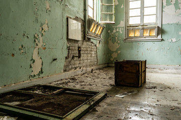 Interior of Amiantos abandoned hospital on Cyprus. Abandoned spaces