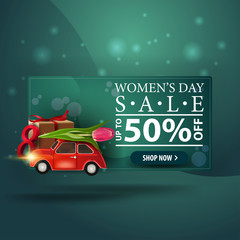 Women's day discount modern green banner with car with Tulip