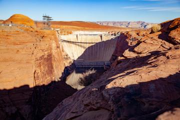 Glen Canyon Dam at sunrise, Arizona