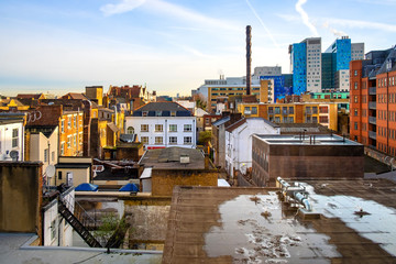 London, United Kingdom - Panoramic view of the Whitechapel district of East London with fusion of traditional and modernistic architecture neighboring Whitechapel street
