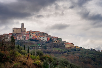 Ponzano Superiore, a typical hilltop village in Liguria, Santo Stefano di Magra comune. Lunigiana, province of La Spezia, Italy.