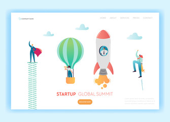 Business Start Up Innovation Concept Landing Page Template. Investment in Idea with Light Bulb Symbol and Super Businessman Website Banner. Vector illustration