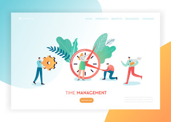 Time Management Business Strategy Solutions Landing Page Template Banner. Planning Characters Working Together Website Concept. Vector illustration