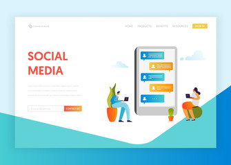 Social Media Networking Communication Concept Landing Page Template. People Characters Chatting in Social Network using Mobile Gadgets for Website Banner. Vector illustration