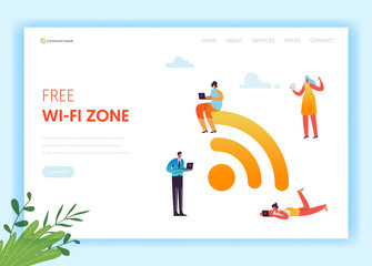 Wi-fi Social Media Networking Concept Landing Page Template. Public Wifi Hotspot with Characters Using Mobile Gadgets with Wireless Technologies. Vector illustration